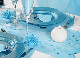 Chemin de Table Tissu Intissé Mariage Turquoise