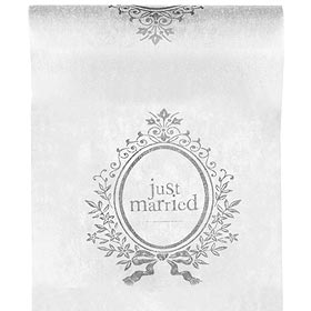 Chemin de Table Intissé Just married Blanc