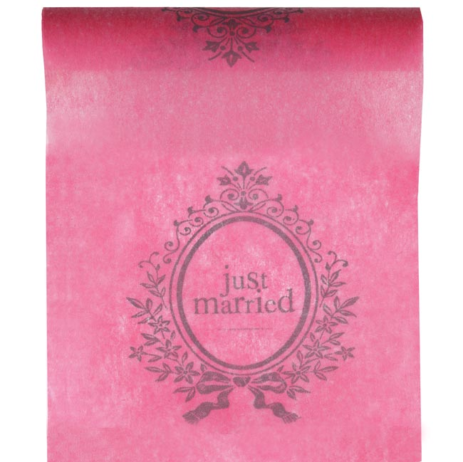Chemin de Table Intissé Just married Fuchsia