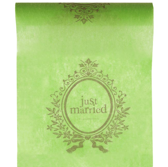 Chemin de Table Intissé Just married Vert Anis