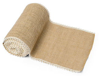 Chemin de Table en Jute Naturelle Bord Dentelle Beige - Taupe