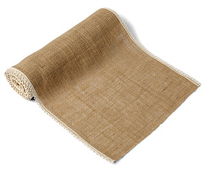 Chemin de Table en Jute Bordure Dentelle Beige - Taupe