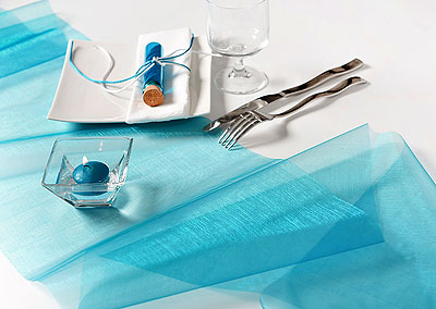 Chemin de Table Organdi Uni Turquoise