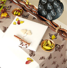 Chemin de table Organdi Papillons Chocolat