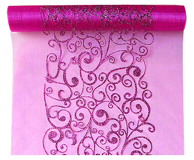 Chemin de Table Organza Arabesques Fuchsia