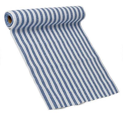 Chemin de Table Coton Rayé Bleu Blanc
