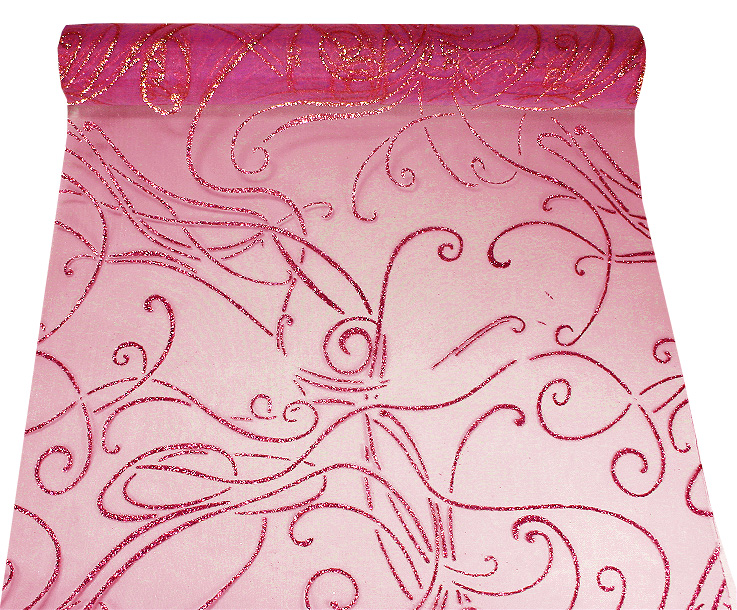 Chemin de Table Organza Volutes Fuchsia