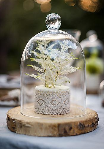 Cloche en verre décoration champêtre