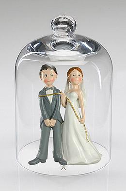 Cloche en Verre avec figurine Mariage