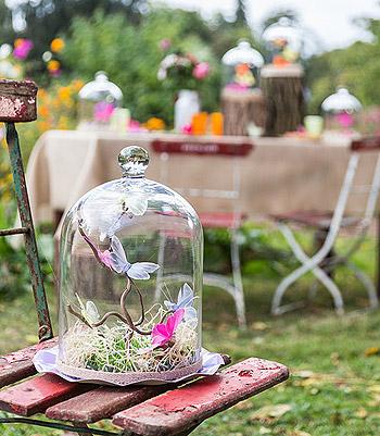 Cloche en verre papillon champetre