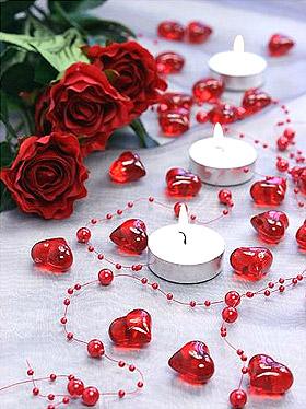 Coeurs Cristal Transparents Deco de Table Mariage Rouge
