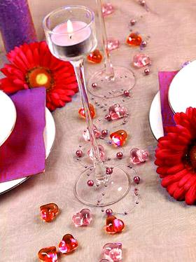 Coeurs Cristal Transparents Deco de Table Mariage Rose Rouge