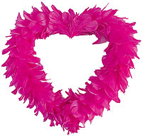 Coeur Géant Plume Décoration Voiture Mariage Fuchsia