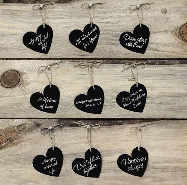 Coeurs Ardoise Ficelle Porte Nom Vintage | Porte Nom Mariage Original