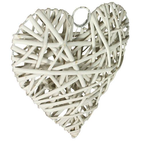 Le coeur bomb en osier naturel blanc nos ballons banderolles et d corations de salle mariage - Coeur en osier ...