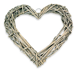 Coeur Osier Tressé Décoration Mariage 20cm Beige - Taupe