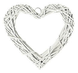 Coeur Osier Tressé Décoration Mariage 20cm blanc
