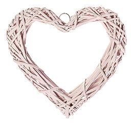 Coeur Osier Tressé Décoration Mariage 20cm Rose