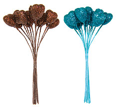 Coeurs Pailletées Décoration Tige x12 Turquoise Chocolat