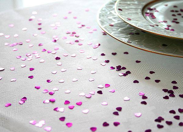 Confettis Déco de Table Métalliques Coeurs Fuchsia