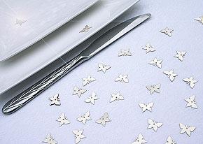 Confettis Déco de Table Papillons Irisés Argent