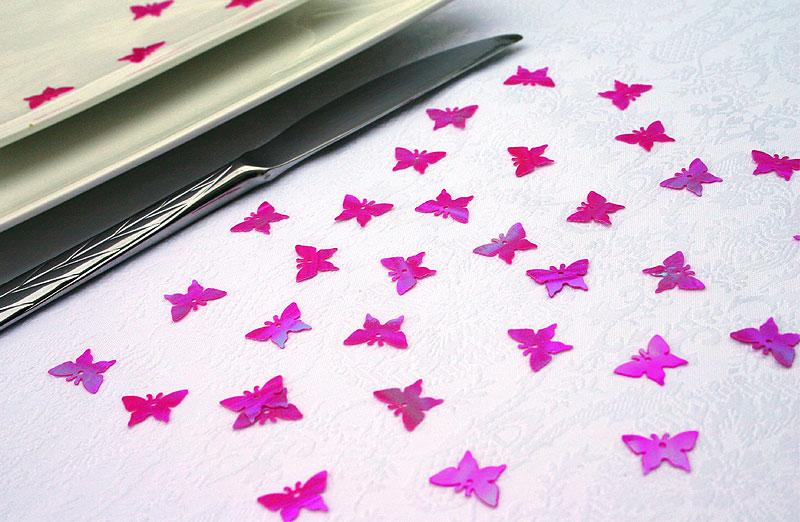 Confettis Déco de Table Papillons Irisés Fuchsia