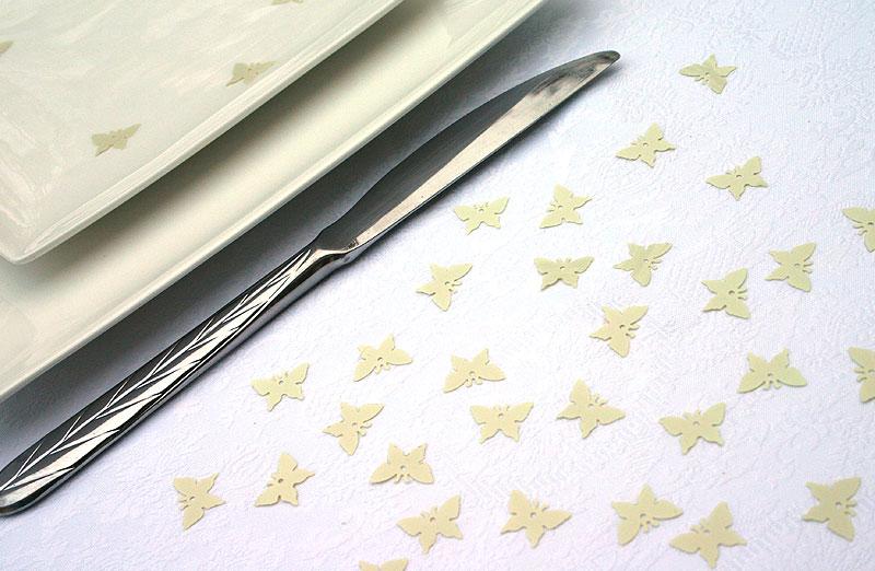 Confettis Déco de Table Papillons Irisés Ivoire