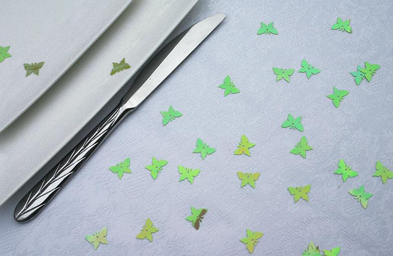 Confettis Déco de Table Papillons Irisés Vert Anis