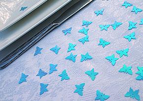 Confettis Déco de Table Papillons Irisés Turquoise
