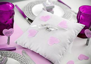 Coussin Alliances Blanc Confettis Coeurs