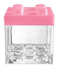 Cube Légo contenant dragées rose