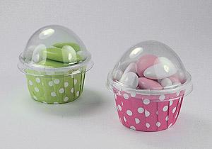 Cupcakes à Pois Couvercle Contenant Dragées