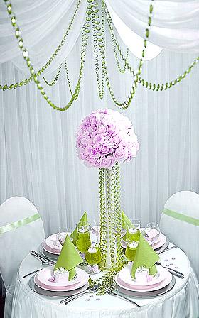Décoration Mariage Guirlande Cristal Vert Rose