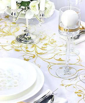 Déco de table mariage blanc et doré