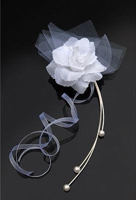 Fleurs Perles Organza Autocollantes Voiture Mariage Blanc