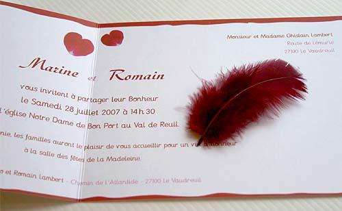 Faire-part mariage avec Plume Bordeaux