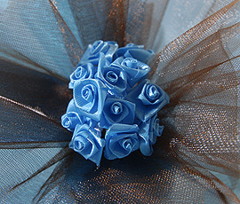 24 Mini Roses Ourlées Décoration Mariage Turquoise