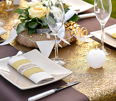 Decoration de table dorée