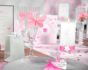 Papillons Décoration Table Mariage Rose