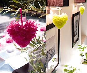 Coeur Plumes Deco Mariage 15cm Fuchsia Vert Anis