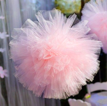 Boule Pompon Tulle Mariage Rose