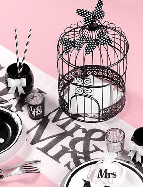 Cage à Oiseaux Urne Métal Noir Décoration table