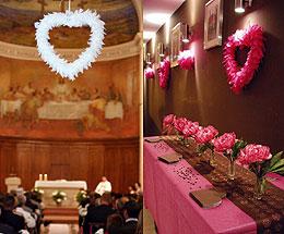 Grand Coeur Plume Déco Salle Blanc Fuchsia