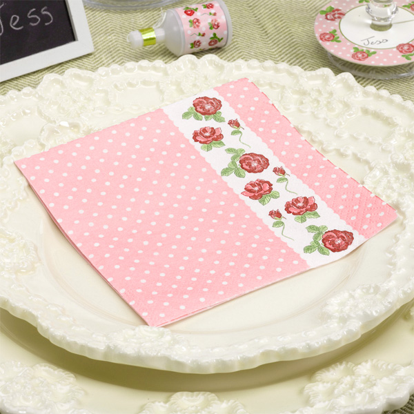 Serviettes Cocktail Vintage Liberty Rose Rose
