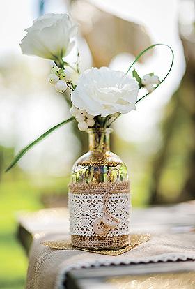 Petite Bouteille Vase Vintage Jute Dentelle Beige - Taupe Transparent