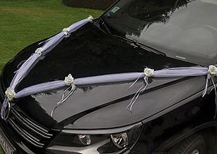 Décoration Fleurs Guirlandes Tulle Voiture Mariage