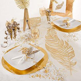 le chemin de table intiss plumes paillettes d coration de table bapteme. Black Bedroom Furniture Sets. Home Design Ideas