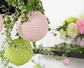 Boules Lampion à Pois Mariage Rose Vert Anis