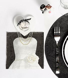 Serviettes de Table Mrs Mariage Blanc Noir