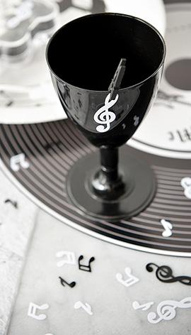 Confettis Notes de Musique Blanc Noir